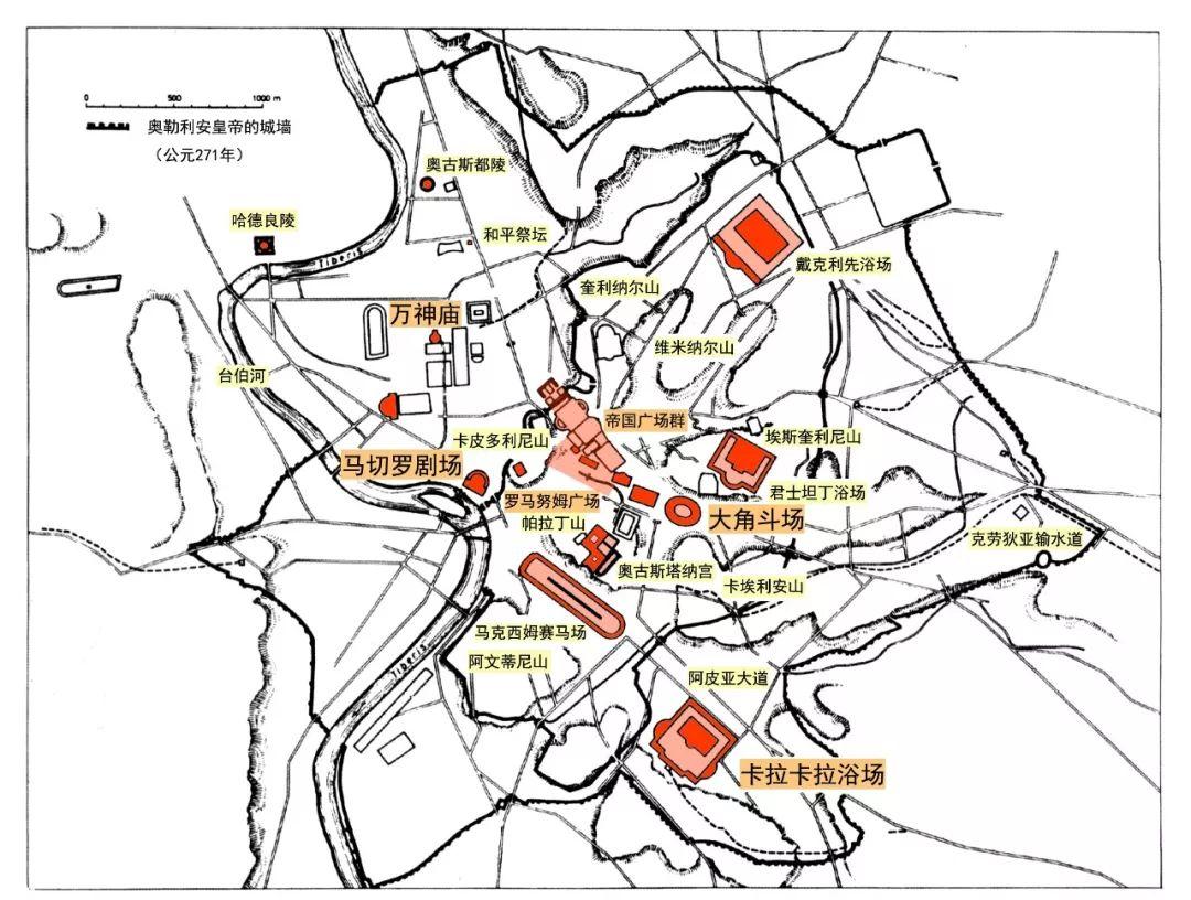 帝國時期羅馬重要建筑示意圖王南據《世界城市史》插圖改繪圖片